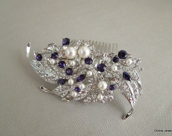 Purple Swarovski Crystal and Pearl Wedding Comb Wedding Hair Accessories Vintage Style wedding crystal hair comb Bridal Hair Comb  ETTA
