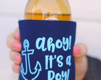 Baby Shower Favors - Ahoy It's a Boy Nautical Personalized Can Coolers, Coed Gender Reveal Party Gifts, Beer Insulators, Stubby Holders
