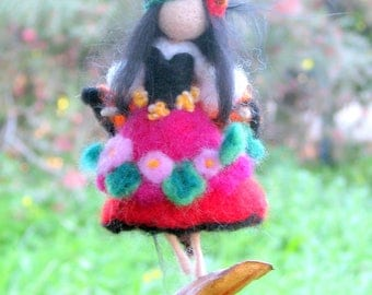 Felted ornament Home decoration Needle felted ornament Waldorf inspired fairy Mobile Gypsy doll Little magic fairy on a seed
