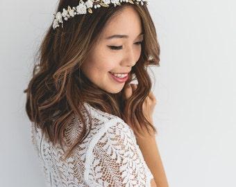white gold rose wedding flower crown // wedding flower crown / white and gold / beach wedding flower hair wreath / gold floral headpiece