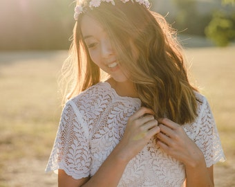 pink and cream wildflower hair wreath // bridal wedding flower crown headband / engagement photoshoot bridal shower floral headpiece