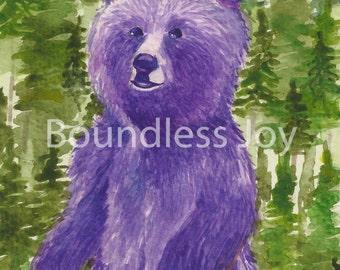 Purple Bear Art Print - Wild Animal Watercolor Art