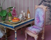 RESERVED for Susan, Shabby Chic Chair Miniature Dollhouse 1:12 Scale Blue, Pink, French Abusson Fabric