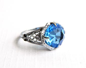 Antique Victorian Silver Filigree Swiss Blue Solitaire Ring - Round Faceted Glass - Vintage Blue Ring -  Size 5.5 - ESTATE - Wedding Bridal