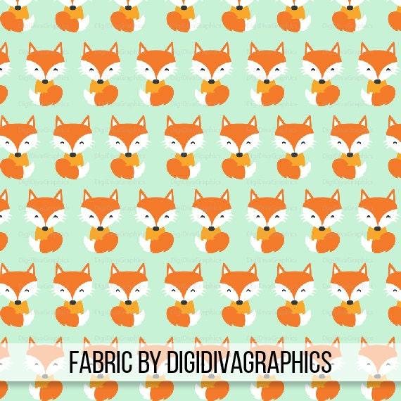 Happy fox fabric by the yard orange fox on light green print for Fox print fabric