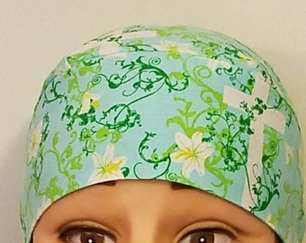 Blue Chemo Cap w White Crosses, Skull Cap, Do Rag, Surgical Cap, Hats, Flowers, Vines, Church, Easter, Handmade, Alopecia, Head Wrap, Cancer
