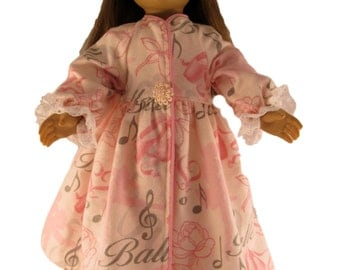 Pink flannel winter flannel ballet theme doll robe fits 18 inch dolls like American girl