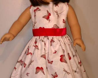 Sleeveless summer butterfly print doll dress fits 18 inch dolls delicate butterflies party dress