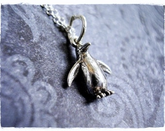 Tiny Silver Penguin Necklace - Sterling Silver Penguin Charm on a Delicate Sterling Silver Cable Chain or Charm Only