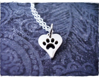 Tiny Silver Heart Paw Print Necklace - Sterling Silver Heart Paw Print Charm on a Delicate Sterling Silver Cable Chain or Charm Only