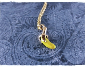Gold Yellow Banana Necklace - Yellow Enameled Antique Gold Pewter Banana Charm on a Delicate Gold Plated Cable Chain or Charm Only