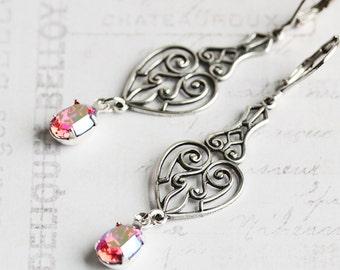 Pink Dangle Earrings, Crystal Rhinestone Earrings, Antiqued Silver Dangle Earrings, Rose Pink Earrings, Leverbacks, Vintage Style Jewelry