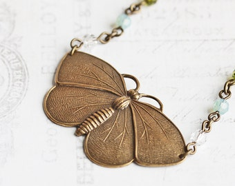Antiqued Brass Butterfly Necklace with Crystal Accents, Summer Jewelry, Gifts for Her