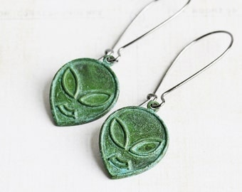 Green Patina Alien Head Martian Charm Earrings on Gunmetal Hooks (Hand Patina)