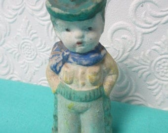 MINIATURE BISQUE DOLL Cowboy Antique Distressed Vintage Found Object for Collecting or Altered Art Projects