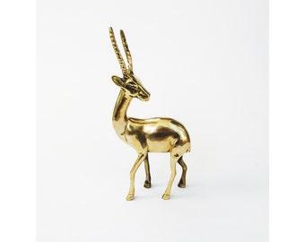 Large Vintage Brass Gazelle Statue