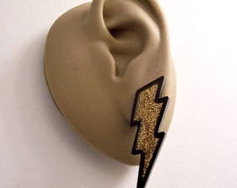 Avon Black Lightning Glitter Pierced Stud Earrings Gold Tone Vintage Jagged Etched Thick Edge Discs Surgical Steel Posts