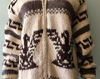 Cowichan Wool Eagle Handknit Sweater Medium
