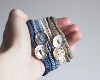 Textile Jewelry. Boho Friendship bracelet. Wrapped linen bracelets. Pack of two crocheted bracelets. Eco-Friendly Jewelry. Cobalt & Sky blue