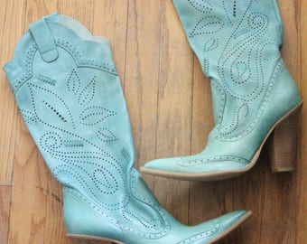 Vintage 90's Turquoise Calf Skin High Heel Cowgirl Western Boots by BCBG Girls, size 6 1/2