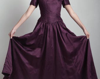 SALE vintage Helen Morley pleated off-the-shoulder full skirt satin formal evening gown eggplant purple full length SMALL S