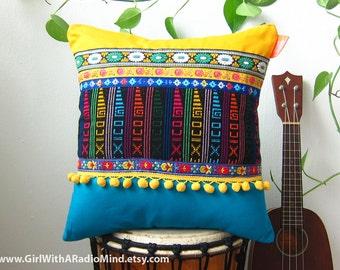 "Mexican Pillow Unique Boho - Colourful Decorative Throw Cushion - 16x16"" - Bohemian OOAK in Yellow, Blue"