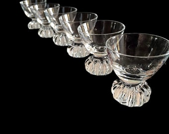 Mid Century Swedish Crystal Barware Clear Glass Cordials / Liqueur Glasses by Aseda Glasbruk  Scandinavian Glass Barware