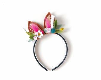 Woodland Floral Crown Headband, Fawn Deer Ears, Felt Flowers, giddyupandgrow