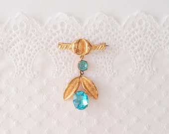antique brooch Edwardian gilt brass blue topaz glass stone dangle drop pendant pin early 1900s