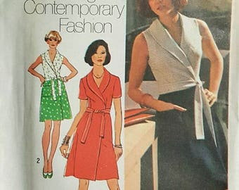 Simplicity 6262 - UNCUT Wrap Dress Pattern - Size 14 - Bust 36 - Shawl Collar Sleeveless Dress