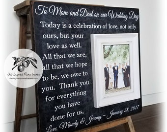 Mother of The Groom Gift, Mother of The Bride Gift, Father of the Bride gift, Personalized Picture Frame, Today is a Celebration, 16x16