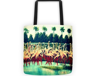 Pink Flamingo Tote Bag, Flamingo Gifts, Travel Gift, Outdoors Gift, Christmas Gifts for Sister, Unique Gift Mom, Aqua Mid Century Flamingos