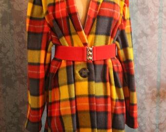 Sz L Checkered Coat Jacket Custom Tailored