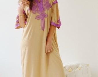 NEW Kaftan Clothing Beige with Lilac Caftan Kaftan Maxi Dres -Aziza -loungewear, as resortwear, Birthdays or Maternity Gifts