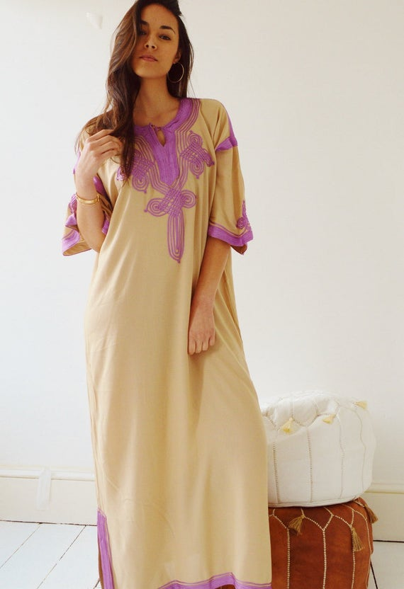 NEW Kaftan Clothing Beige with Lilac Caftan Kaftan Maxi Dres -Aziza -loungewear, as resortwear, Birthdays or Maternity Gifts