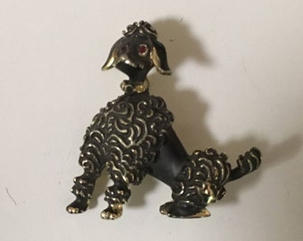 Poodle Pin Brooch Black Gold Tone Red Rhinestone Eyes French Poodle 1950's MCM Mad Men