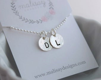 two initials necklace, two kids mommy necklace, mothers necklace, 2 initials necklace, stamped initial tags, tiny token initial neckalce