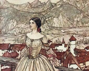 Bertalda, Arthur Rackham, Vinatge Art Print