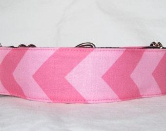 Pink Chevron Martingale Dog Collar - 1.5 or 2 Inch - cute pretty stripes