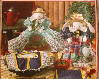 Vintage 1990s Bunny Covers for Casserole, Cannister, Food Umbrella and Casserole Mitt Faith Van Zanten Simplicity Crafts Pattern 8950 UNCUT