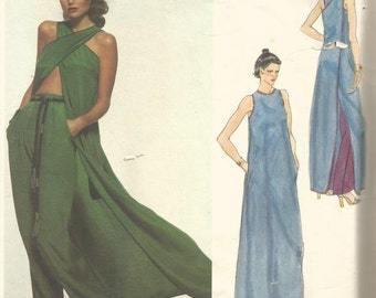 1970s Sexy Evening Tunic Pants Criss Cross Straps Designer Geoffrey Beene Vogue 1673 Uncut FF Size 12 Bust 34 Womens Vintage Sewing Pattern