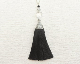 Silver Tassel Necklace, Silk Tassel Necklace, Black Necklace Tassel, Long Tassel Pendant Necklace, Black Silk Long Tassel Necklace, For Her