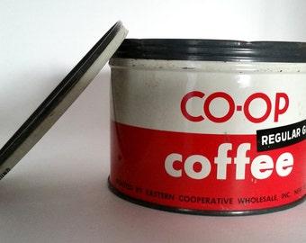 Vintage Coffee Tin Red & White