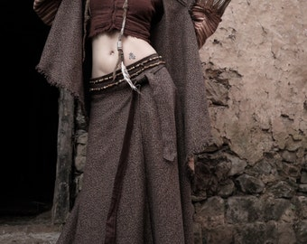 Woollen dark brown  Long Wrap skirt Winter warm cozy With Native american style Feather embroidery