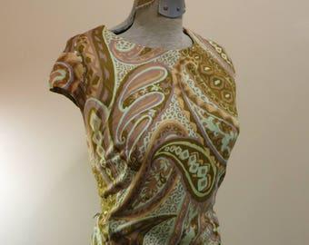Dress green paisley 1960s MOD stretch sheath dress M