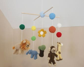 Crochet Safari Animals Crib Mobile (Ready To Ship)