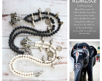 Banjara Traditional vintage dangling element White Howlite Turquoise beaded necklace Tribal Nomad Bohemian statement jewelry by Inali