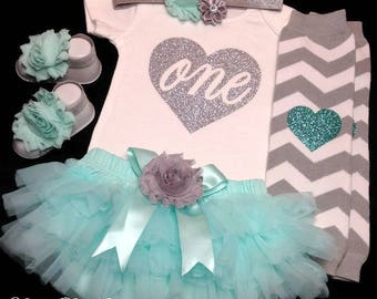 1st Birthday Girl Outfit, First Birthday Bodysuit, Cake Smash, Photo Prop, Mint Aqua Tutu Bloomer, Mint and Silver Birthday Outfit, Girl Set