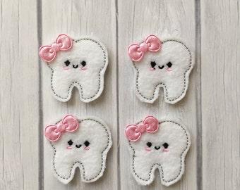 Tooth feltie, dental feltie, tooth felt appliques, dentist, embroidered appliques, tooth appliques, dental hygeine felties, felties
