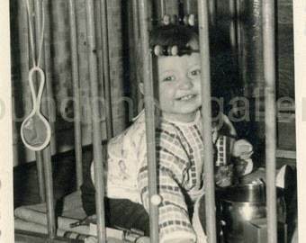 Vintage Photo, Smiling Baby Playing in Wooden Playpen, Black & White Photo, Found Photo, Old Photo, German Photo, Snapshot